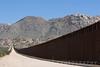 US-Mexico International Border fence at the Jacumba Mountains in Jacumba, California