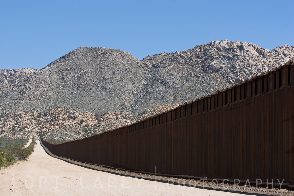 US-Mexico International Border fence at the Jacumba Mountains in Jacumba, California