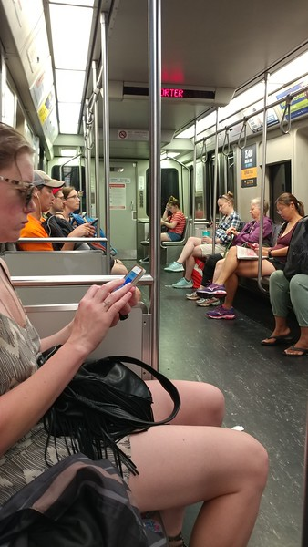 Red Line from Alewife to Park St. - the modern time subway riders: all on their cell phone!!!
