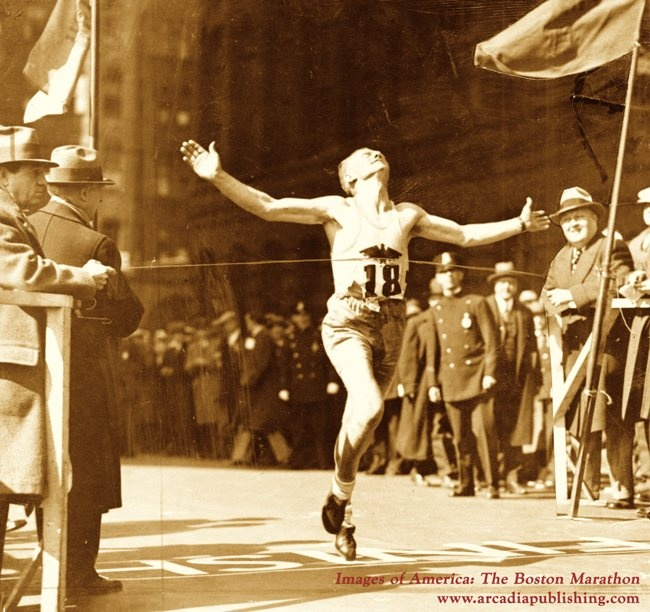 What year did Boston Marathon start? <br /> A patriotic tradition. The first Boston Athletic Association Marathon was run n 1897 to help celebrate the new holiday of Patriots Day. From 1897-1968, the Marathon was held on April 19, unless the 19th fell on a Sunday. John J. McDermott of New York, emerged from a 15-runner field to win the first race.