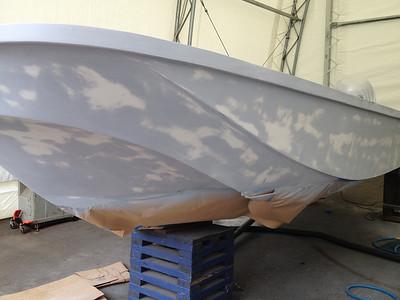 Hull primed in gray primer then sanded.