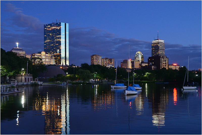 Back Bay skyline from Charles River Esplanade. June, 2014.
