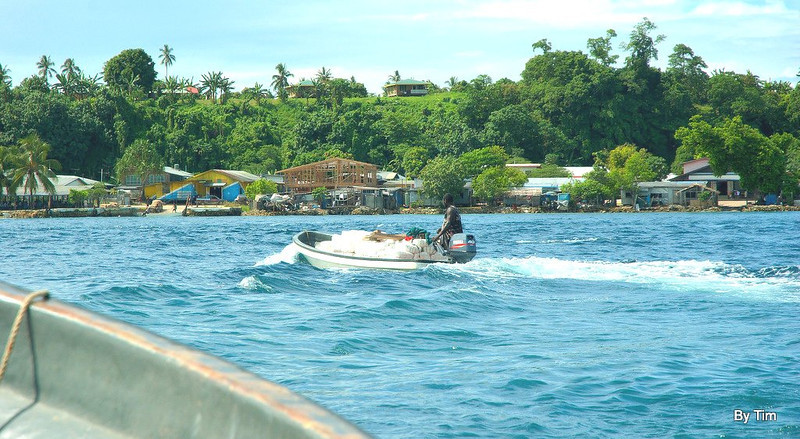 Ship docks on Buka side so everything for mainland is transported in the yamaha banana boat