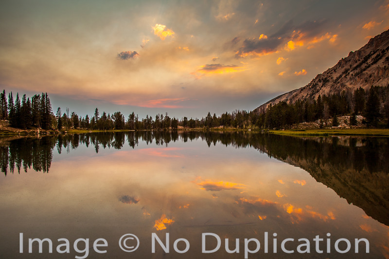 Sunset on an alpine lake, White Cloud Mountians, Idaho