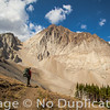 Backpacker on Castle Divide, White Cloud Mountains, Idaho