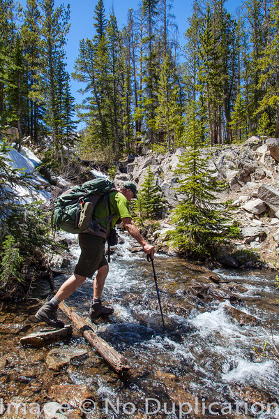 Stream crossing, White Cloud Mountains, Idaho
