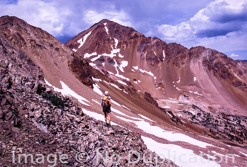A climber contemplates Glassford Peak in the Boulder Mts, Idaho