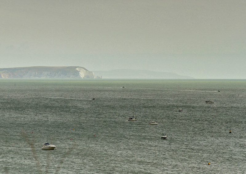 The Isle of Wight just visible in the hazy conditions.
