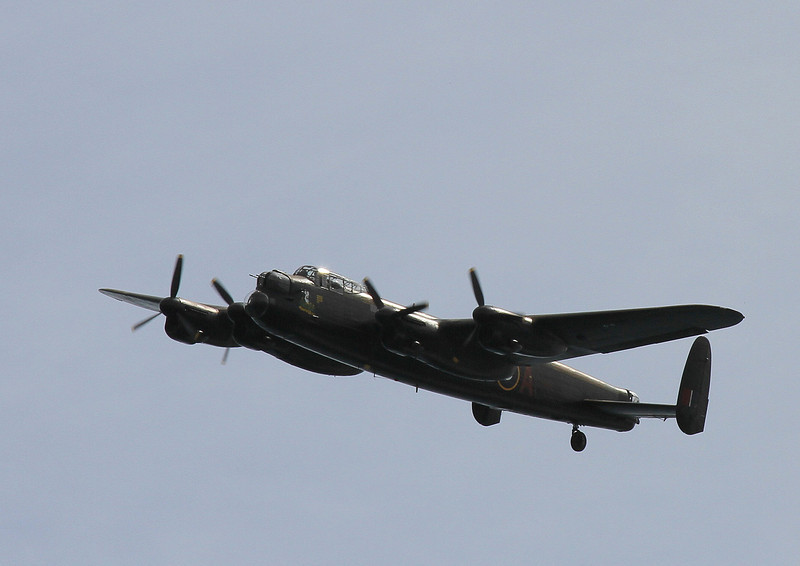 The Lancaster flies by.