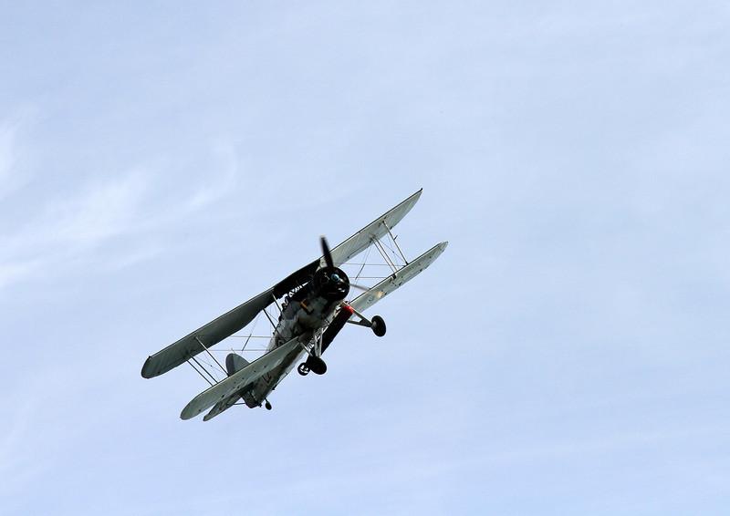 A Second World War Fairey Swordfish, a famously durable carrier borne torpedo bomber.