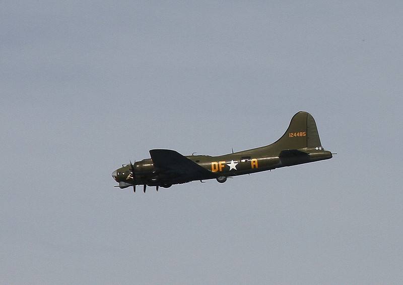 "The American Boeing B17 ""Sally B"" lumbers by."