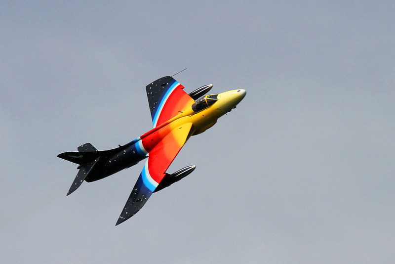 """To end the show with a roar, a display by """"Miss Demeanour"""", a Hawker Hunter F4 which first entered service, originally with the RAF, in 1956."""