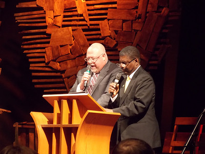 Dr. Richard Faidley, superintendent of Boyertown Area School District, and Delmas Campbell, principal of Pine Forge Academy, read selected passages from the speeches of King and Mandela.