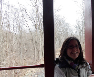 Emily Thiel of Berks-Mont Newspapers on the caboose.