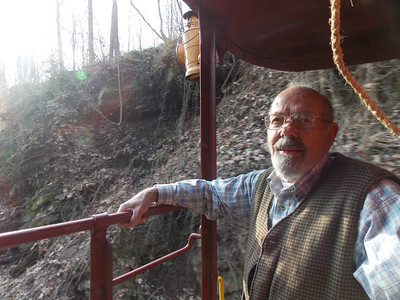 The former owner of the caboose John Pfaltz rides from Pottstown to Boyertown.