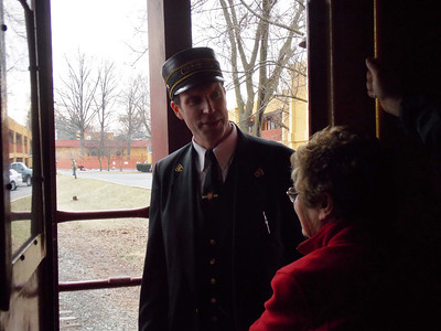 Nathaniel Guest of the Colebrookdale Railroad Preservation Trust with Mayor Marianne Deery on the ride to Boyertown from Pottstown.