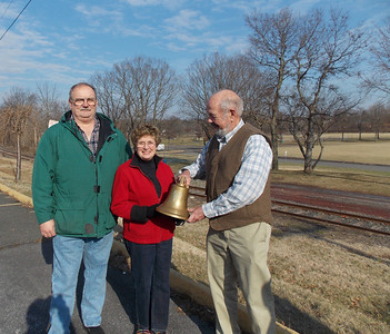 Boyertown Borough Council President Frank Deery and Boyertown Mayor Marianne Deery with the former owner of the caboose John Pfaltz.