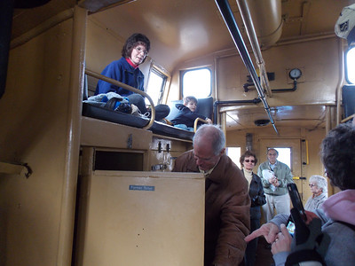 An inside look of the caboose.