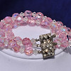"Pink and Clear 3 Strand AB Multi-faceted Glass Crystal Bracelet.  Excellent Condition.  Beautiful clear rhinestone and silver tone clasp.  Super sparkle!  38 grams , 7"" long,  3/4 wide.<br /> Matching Necklace available<br /> <br /> 22.00"