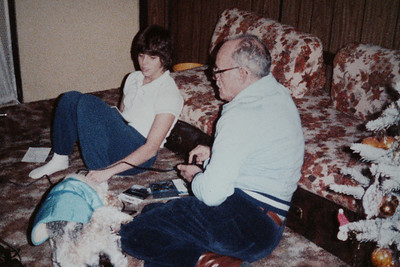 Dad and me, along with Cricket Christmas 1983.