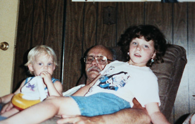 Possibly the last photo taken of PapPaw (Dad), Ben  and Amanda Summer 1990.