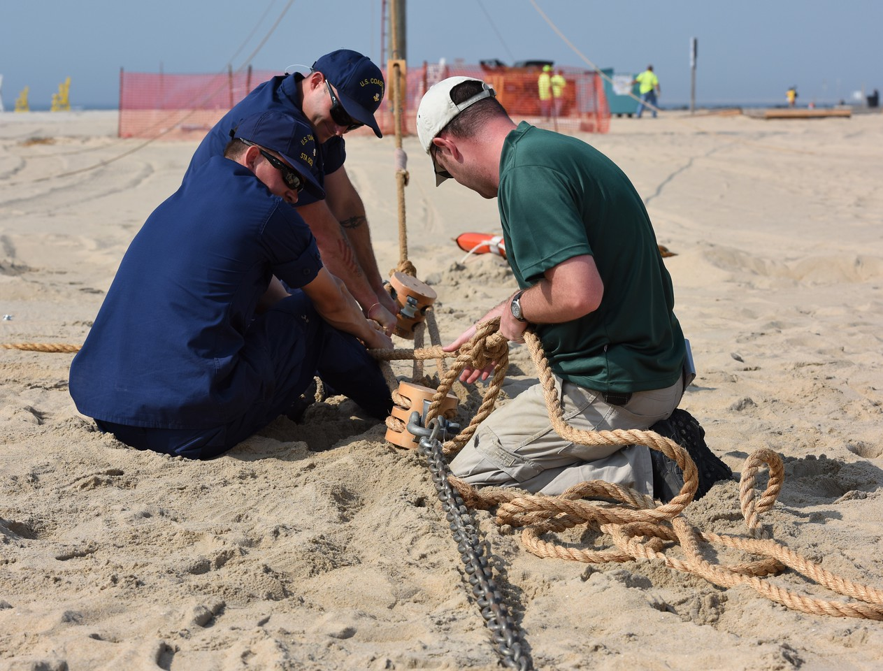 Tying big coarse rope is tough, proper tension must be maintained while securing the knots.