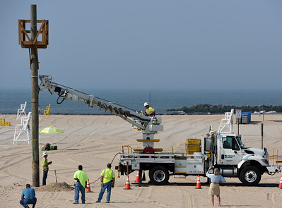 Thanks to Delmarva Power for donating their time, expertise, and personnel to make this possible. The Town of Ocean City also has been generous with its manpower and equipment. Police and Fire departments also had roles in keeping the range safe for everyone while inconveniencing Ocean City's visitors as little as possible. The whole practice took a little over an hour.