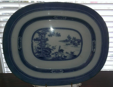 "Pearlware ""Indian"" platter.  This is a huge, wonderful tureen underplate size:  $195"