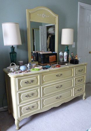 French Provencial dresser w/mirror:  $125 Paint this a custom color for a renewed look!