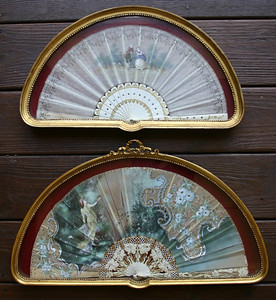Antique hand fans in custom frames:  $40 each
