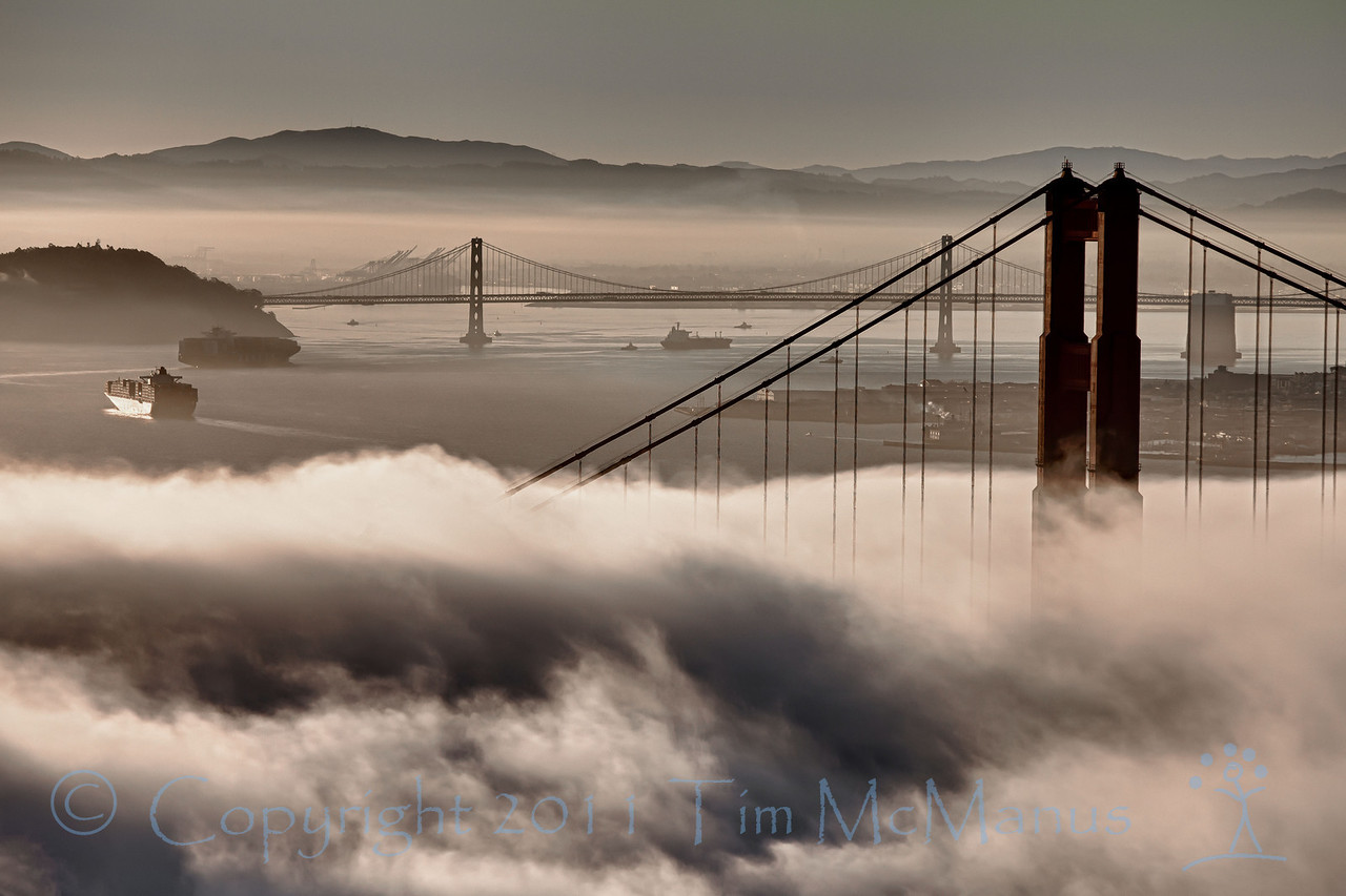 Freighters passing through the fog and under the Golden Gate Bridge