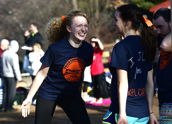 1/21/2017 Mike Orazzi | Staff Kiah DeVona during the 12th Annual YMCA Sloper Plunge held at  YMCA Camp Sloper in Southington Saturday. The event raises money for camp scholarships.