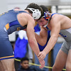 011617  Wesley Bunnell | Staff<br /> <br /> Bristol Central held an invitational wrestling tournament on Monday Jan 16. Trinidad Gonzalez, right,  of Bristol Eastern in a 170lb match.