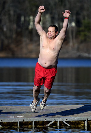 1/21/2017 Mike Orazzi | Staff Ken Mita during the 12th Annual YMCA Sloper Plunge held at  YMCA Camp Sloper in Southington Saturday. The event raises money for camp scholarships.