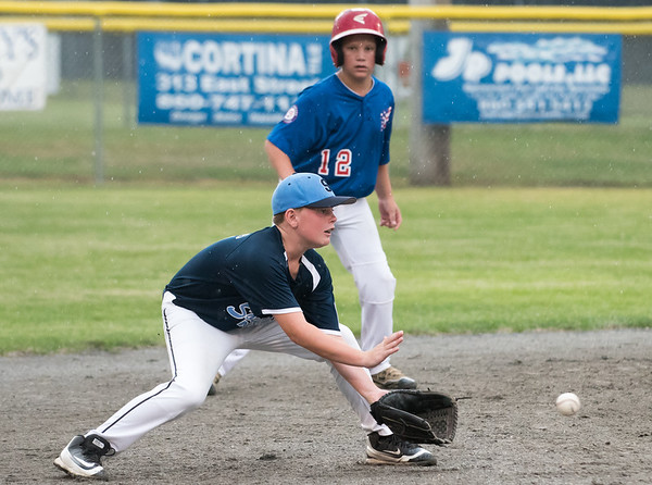 071217  Wesley Bunnell | Staff  The Little League age 10-11 District 5 Championship game was played at Trumbull Park in Plainville featuring Southington North vs Wallingford. SS Kyle Crispens (11).