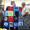 9/21/2017 Mike Orazzi | Staff<br /> Hometown Hero Bob Montgomery is presented with a quilt during the 56th Annual Chrysanthemum Festival on opening night in Bristol Thursday.