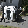 9/13/2017 Mike Orazzi | Staff<br /> The scene of an armored truck rollover at the intersection of Ingraham Street and Hungerford Alley in Bristol Wednesday afternoon. The driver was not injured and was help from the vehicle by some good samaritans.