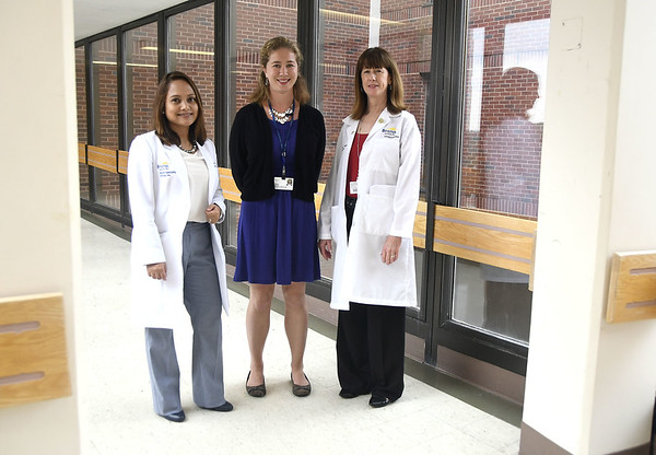 7/12/2017 Mike Orazzi | Staff Bristol Hospital's Dr. Margarita Reyes, leader of the geriatric medicine program, Sarah Jeffrey ,Director of Service Line Strategy and Development and Michelle Miranda, Director of Inpatient Services on Level F near the area where the new inpatient senior behavioral health unit will be.