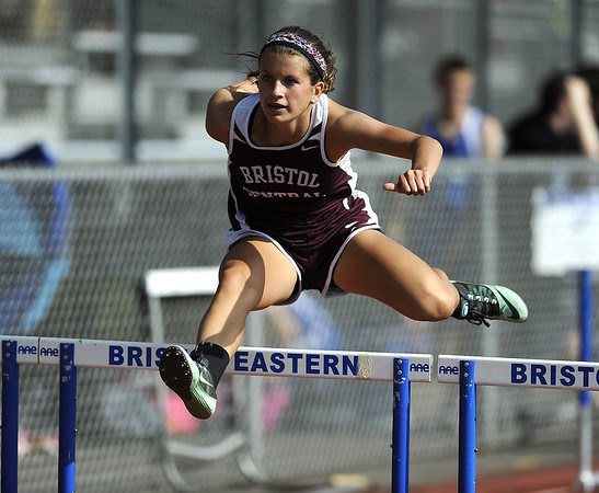 5/19/2015 Mike Orazzi | Staff Bristol Olivia Savino in the 100 hurdles at Bristol Eastern on Tuesday.