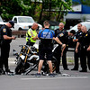 6/15/2017 Mike Orazzi | Staff<br /> Bristol Police while investigating a motorcycle vs crash on Memorial Blvd. Thursday evening. The operator of the motorcycle was transported to Hartford Hospital with serious injuries.