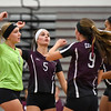 09/11/17  Wesley Bunnell | Staff<br /> <br /> Bristol Central girls volleyball vs Plainville at Bristol Central High School on Monday evening.  Bristol Central's Amanda Warner (1), Brianna Saverino (5), Ashleigh Clark (9) and Xia'ian Carrasco (13).