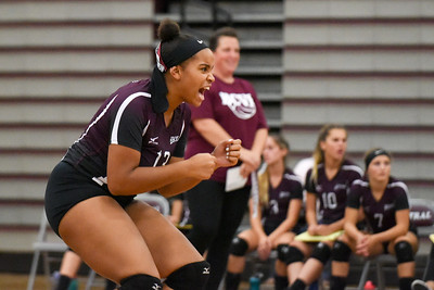 09/11/17  Wesley Bunnell   Staff  Bristol Central girls volleyball vs Plainville at Bristol Central High School on Monday evening. Bristol Central's Xia'ian Carrasco (13) reacts.