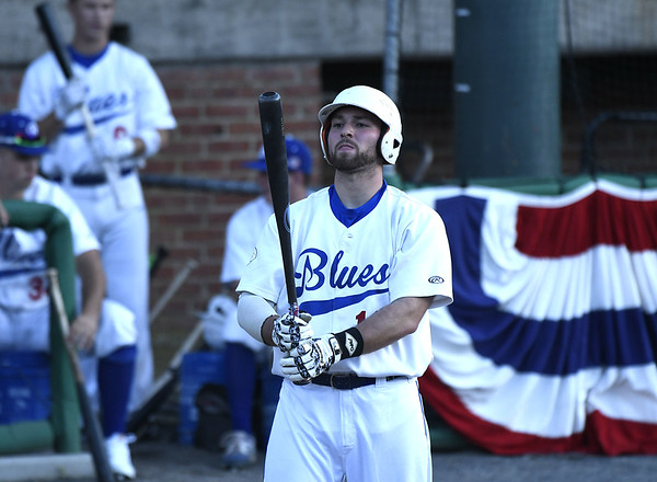 6/1/2017 Mike Orazzi | Staff Bristol Blues' Kyle Pileski (13) on opening night at Muzzy Field Thursday.