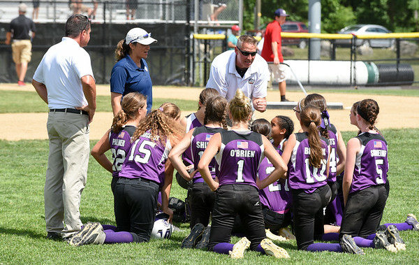 072617  Wesley Bunnell | Staff<br /> <br /> New York defeated Pennsylvania in a 2017 Little League Softball Eastern Regional Tournament game on Wednesday afternoon. The New York team with a post game meeting.