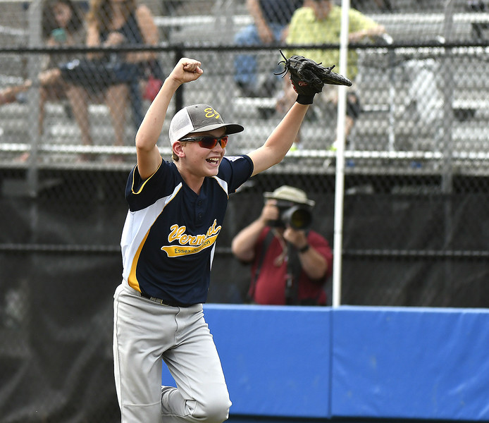 8/8/2017 Mike Orazzi | Staff Vermont's Jake Reyome (1) celebrates a win over Massachusetts to advance in the Eastern Regional Little League Tournament in Bristol Tuesday afternoon at Breen Field.