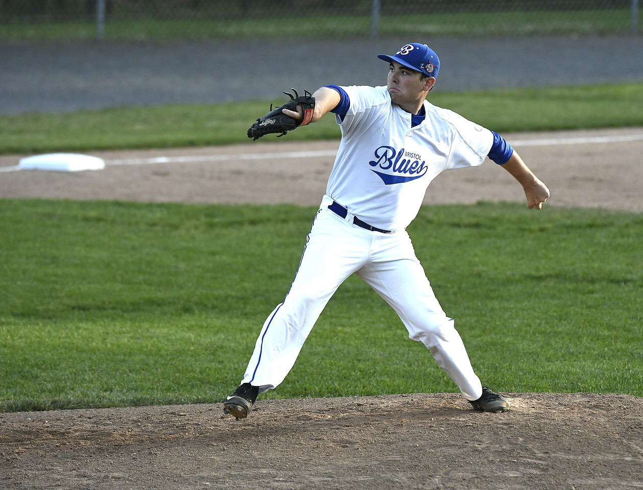 6/14/2017 Mike Orazzi | Staff Bristol Blues' Michael Genaro (21) at Wednesday night's baseball game with the Bravehearts at Muzzy Field.