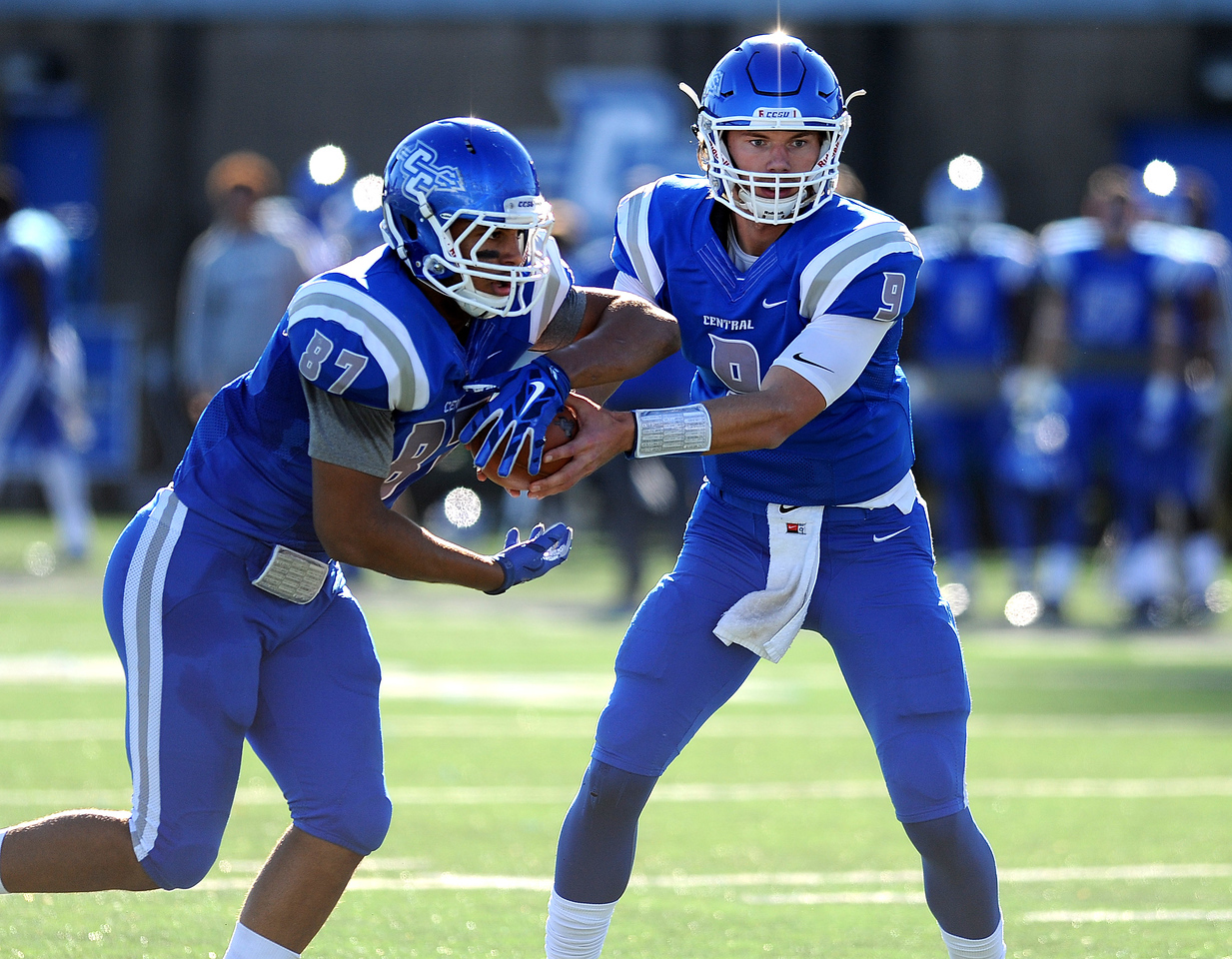 11/19/2016 Mike Orazzi | Staff CCSU's Jacob Dolegala (9) and KJ Smith (87)Saturday in New Britain.
