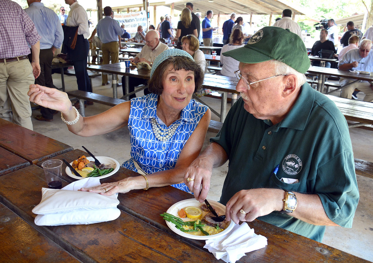 8/26/2016 Mike Orazzi | Staff Susan Sterniak and George Sobe during the 135th Crocodile Club Reunion Dinner held at Lake Compounce Friday afternoon.