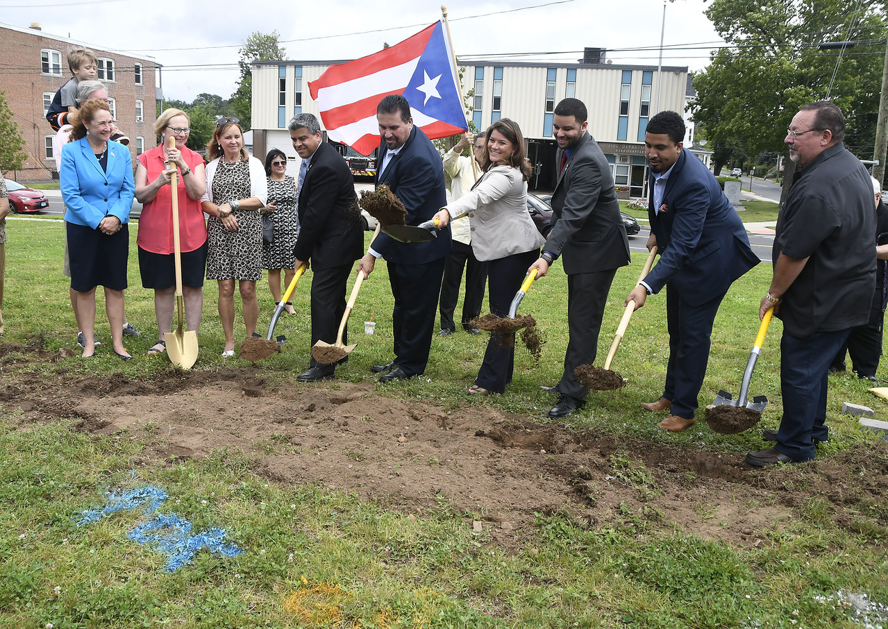 8/5/2017 Mike Orazzi | Staff The ground breaking for a monument honoring a Puerto Rican regiment of the U.S. Army's 65th Infantry Regiment, known as the Borinqueneers, Saturday in New Britain at the intersection of Beaver and Washington streets, and Farmington Avenue.