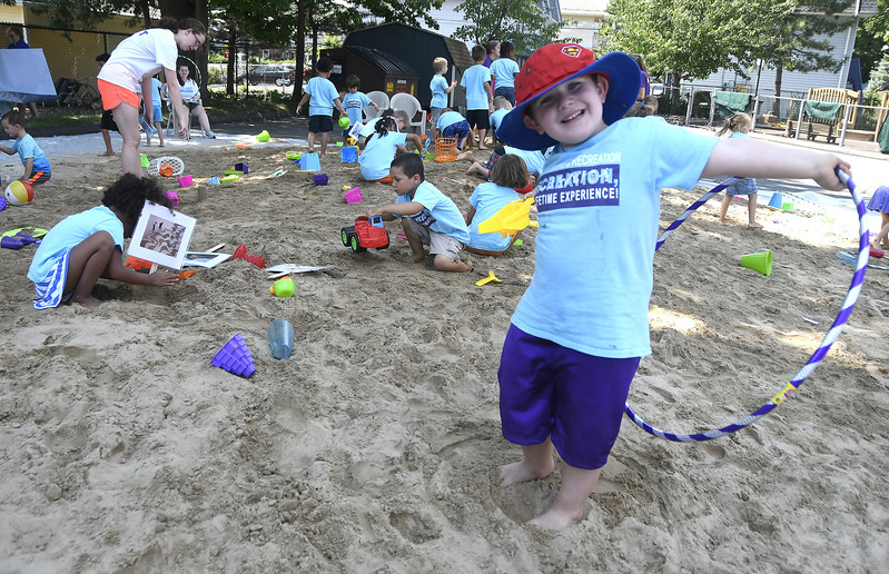 8/1/2017 Mike Orazzi | Staff Hunter Michalski during beach in the city at the Imagine Nation Children's Museum Tuesday afternoon.